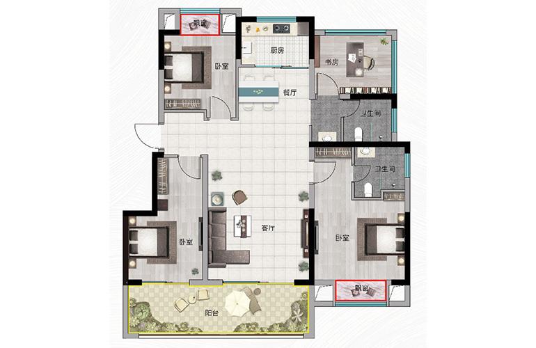浩创悦山湖 C2户型 4室2厅2卫1厨 建筑面积110㎡