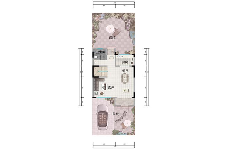 浩创悦山湖 别墅98㎡户型一层 3室3厅3卫1厨 建筑面积98㎡