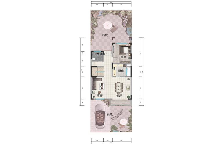 浩创悦山湖 别墅125㎡户型一层 4室3厅4卫1厨 建筑面积125㎡