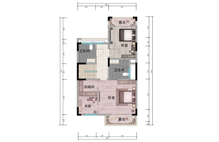 浩创悦山湖 别墅125㎡户型二层 4室3厅4卫1厨 建筑面积125㎡