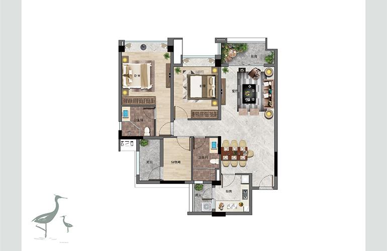 景业白鹭洲 D户型 两室两厅两卫一厨 建筑面积102㎡