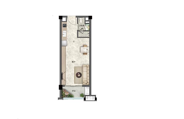 景业白鹭洲 H户型 一室一厅一卫一厨 建筑面积48㎡
