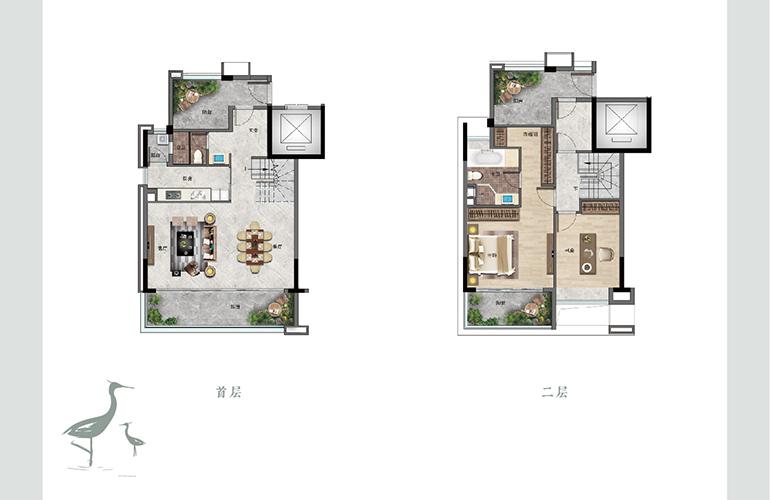 景业白鹭洲 G3户型 两室两厅两卫一厨 建筑面积171㎡