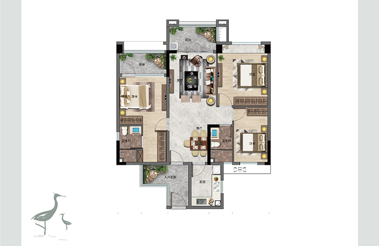 景业白鹭洲 E户型 三室两厅两卫一厨 建筑面积107㎡