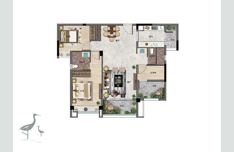 景业白鹭洲 B户型 两室两厅两卫一厨 建筑面积102㎡