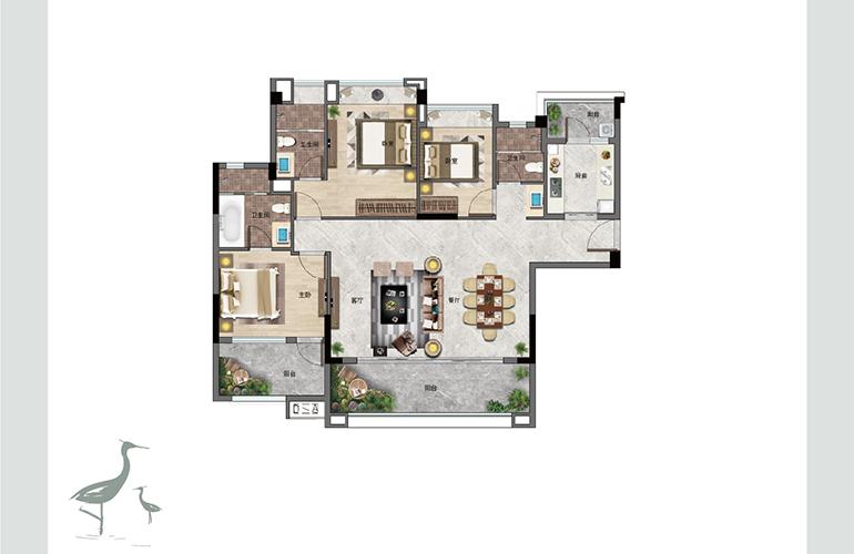 景业白鹭洲 C户型 三室两厅三卫一厨 建筑面积126㎡