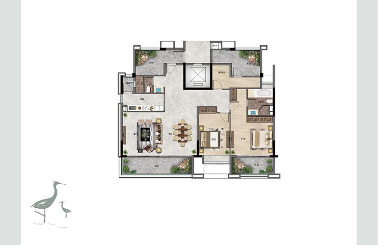 景业白鹭洲 G2户型 两室两厅两卫一厨 建筑面积170㎡