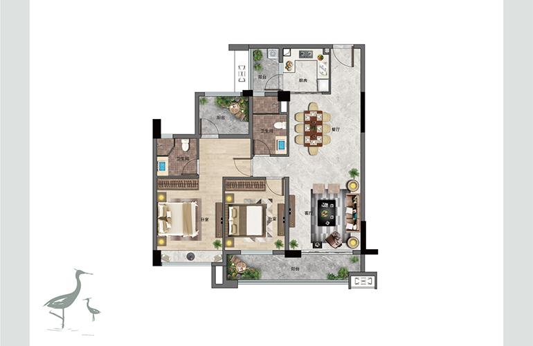 景业白鹭洲 F1户型 两室两厅两卫一厨 建筑面积113㎡