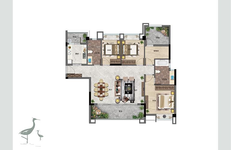 景业白鹭洲 A户型 三室两厅两卫一厨 建筑面积125㎡