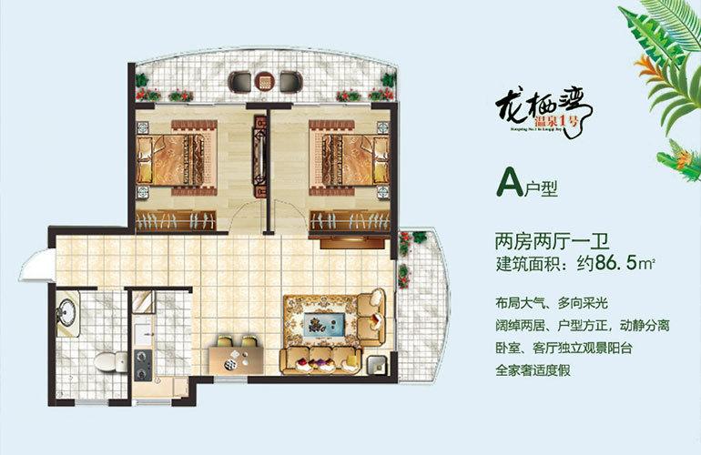 龙栖湾温泉1号 A户型 2房2厅1卫 建筑面积86㎡