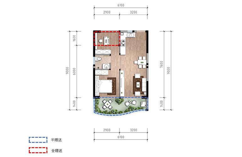 温泉山谷 B2-1户型 两室一厅一卫一厨 建筑面积60㎡