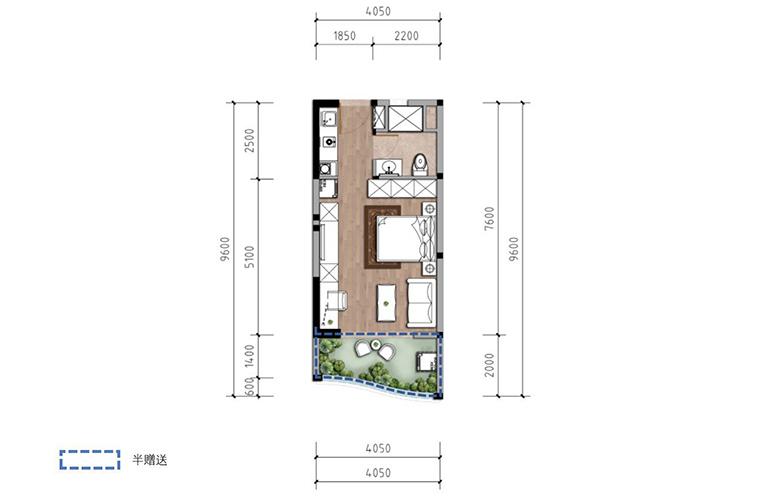 温泉山谷 B2-2户型 一室一厅一卫一厨 建筑面积43㎡