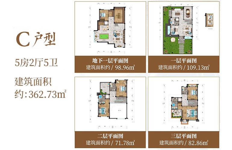 建业君邻大院 C户型 5房2厅5卫 建筑面积362㎡