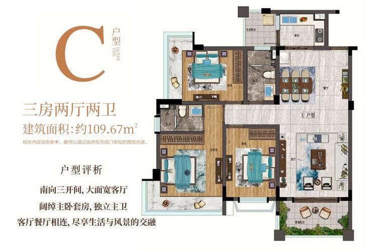 建业君邻大院 C户型 3房2厅2卫 建筑面积109㎡