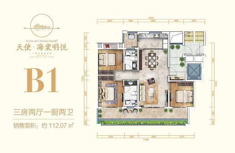 天使海棠明悦 B1户型 3房2厅2卫 建筑面积112㎡
