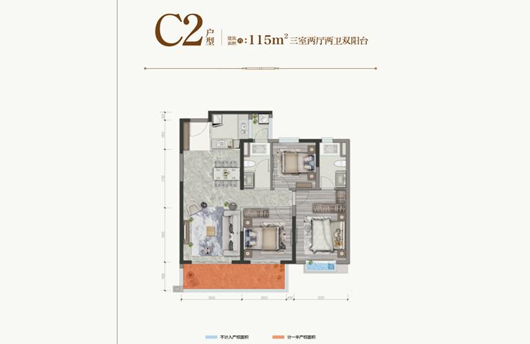 保利城 C2户型 三室两厅两卫一厨 建筑面积115㎡