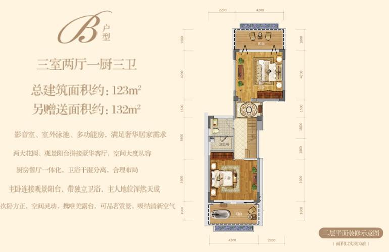 清澜半岛 B户型 二层平面装修示意图 建筑面积123㎡