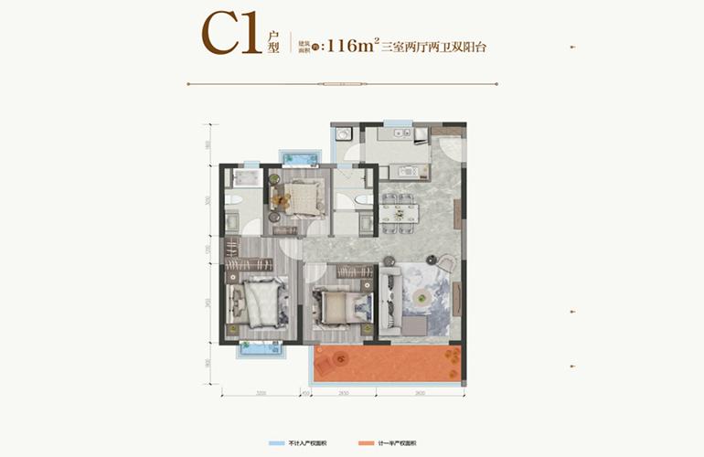 保利城 C1户型 三室两厅两卫一厨 建筑面积116㎡