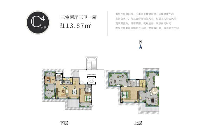 世茂怒放海 C4户型 三室两厅三卫 建筑面积113㎡