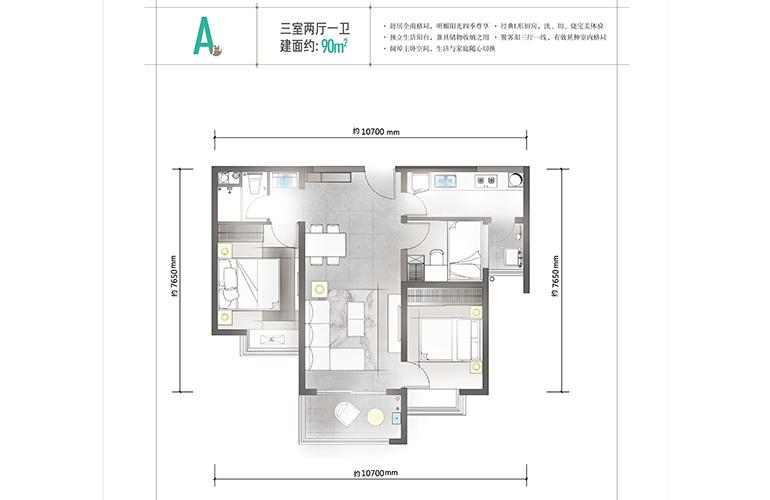 万科公园城市 A户型 三室两厅一卫一厨 建筑面积90㎡