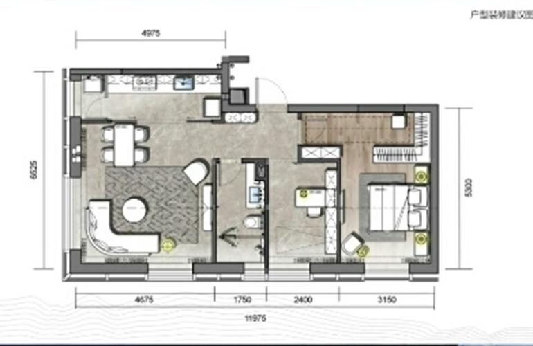 山海湾8号 A3户型 两室两厅一卫一厨 建筑面积72㎡