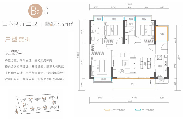 融创高隆湾 B2户型  三室两厅两卫 建筑面积123.58㎡