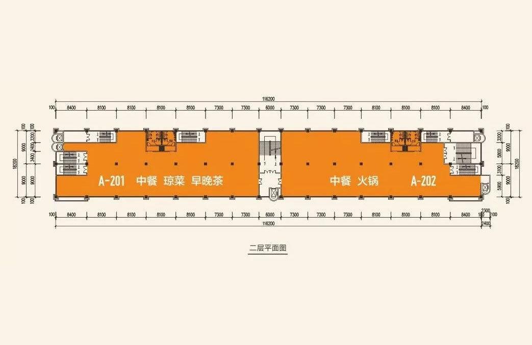 海垦公园后街 商铺2层平面图 建筑面积约1110㎡-1135