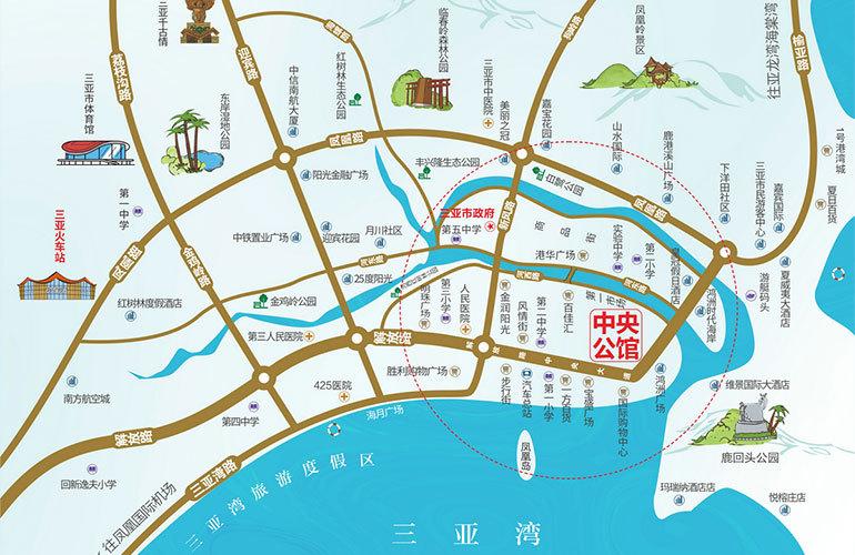 三亚中央公馆区位图