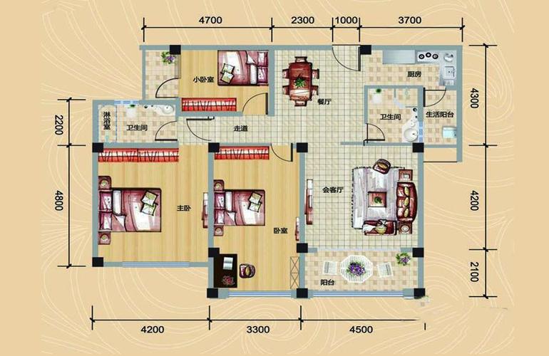 银湾天麓 B1户型 三房二厅两卫 建筑面积134.14㎡
