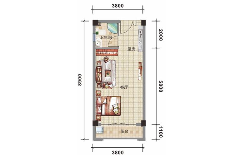 银湾天麓 D1户型 一房一厅一卫 建筑面积41.6㎡