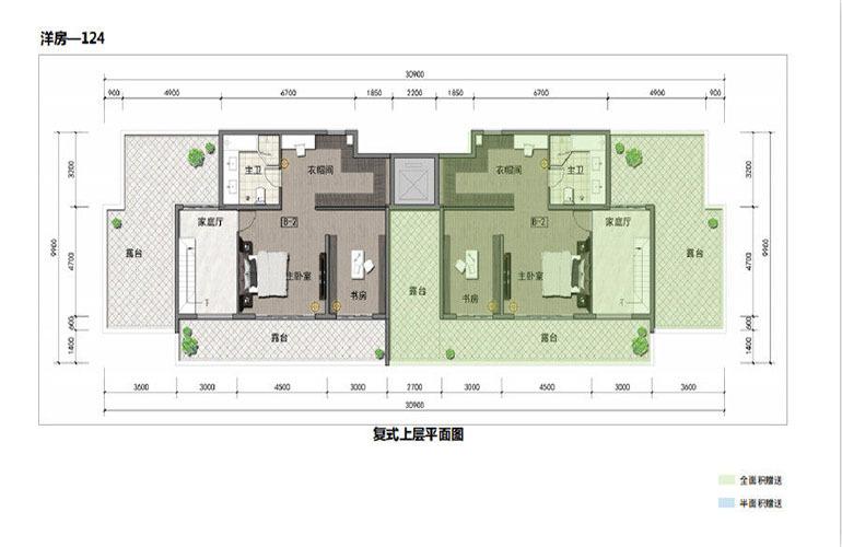 鸿基湖畔新城 洋房-124  复式上层平面图
