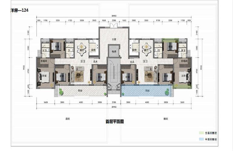 鸿基湖畔新城 洋房-124 首层平面图