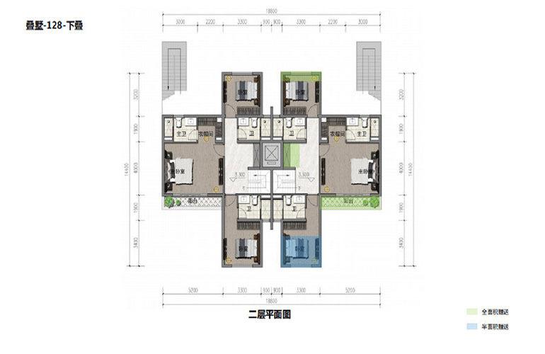 鸿基湖畔新城 叠墅-128-下叠 二层平面图