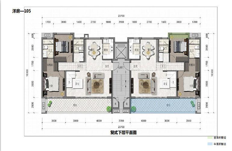 鸿基湖畔新城 洋房-105 复式下层平面图