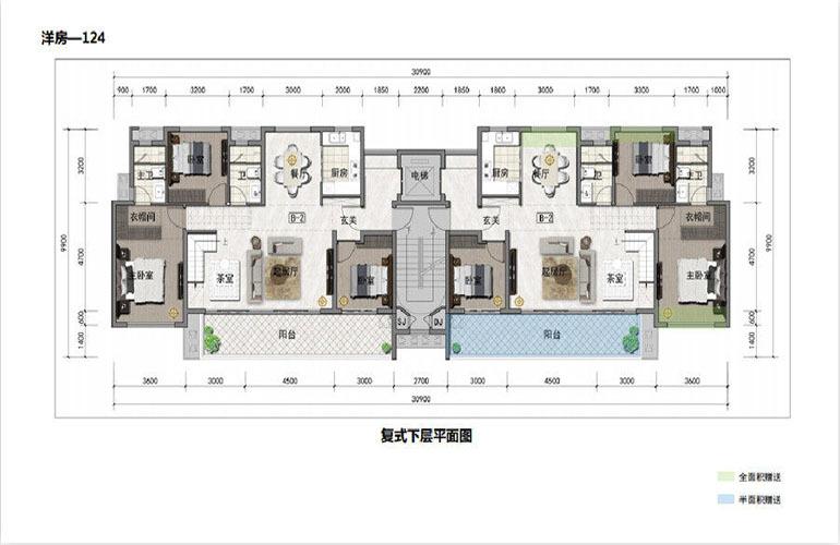 鸿基湖畔新城 洋房-124  复式下层平面图