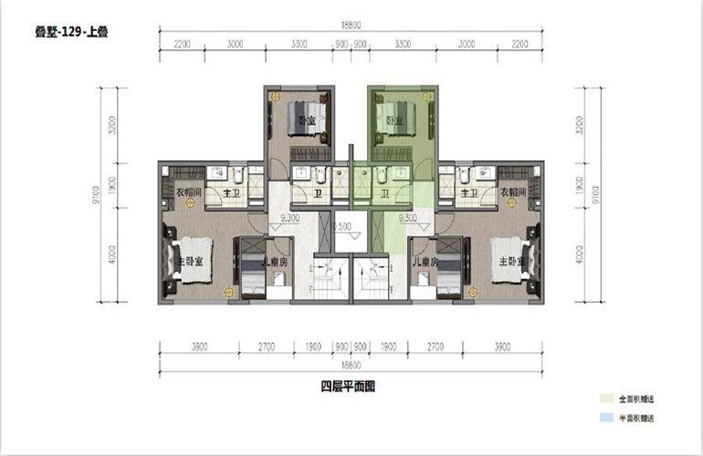 鸿基湖畔新城 叠墅-129-上叠  四层平面图