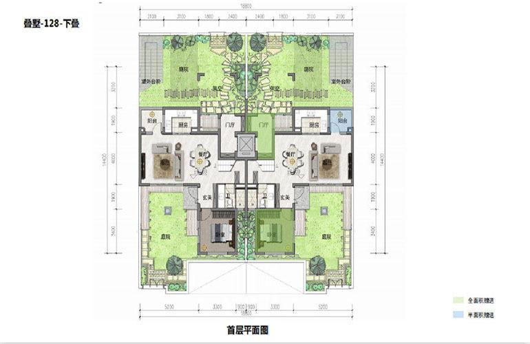 鸿基湖畔新城 叠墅-128-下叠 首层平面图