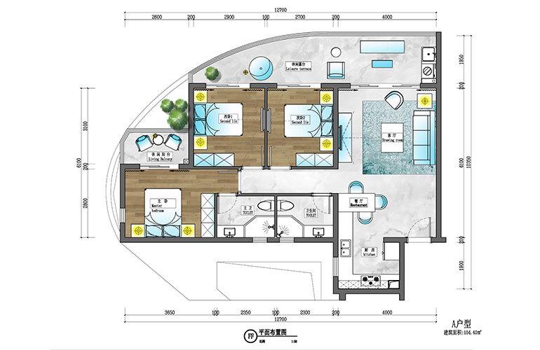 盈滨逸品湾 A户型 3室2厅2卫 建筑面积约104㎡