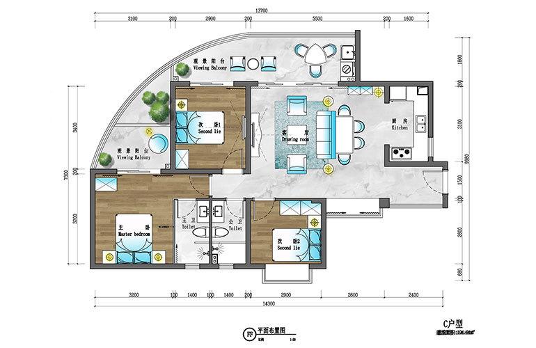 盈滨逸品湾 C户型 3室2厅2卫 建筑面积约104㎡