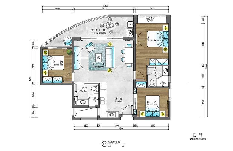 盈滨逸品湾 B户型 3室2厅2卫 建筑面积约104㎡