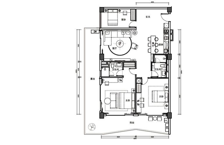 富力月亮湾海尚公寓 AB户型 3房2厅2卫 建筑面积151㎡
