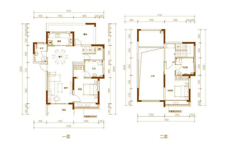 白鹭公元 A1户型 2房2厅3卫 建筑面积约131㎡