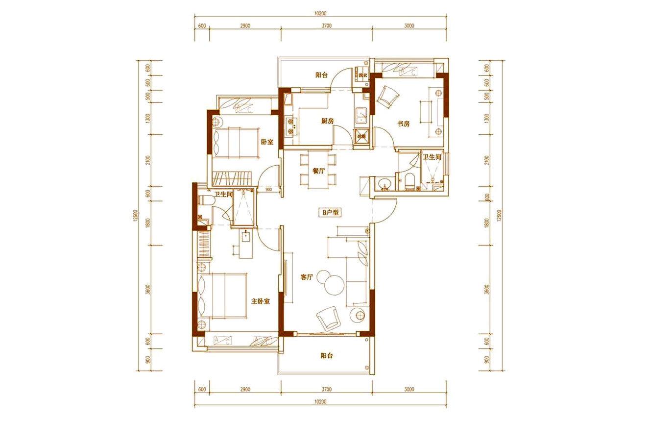 白鹭公元 B户型 3房2厅2卫 建筑面积约107㎡