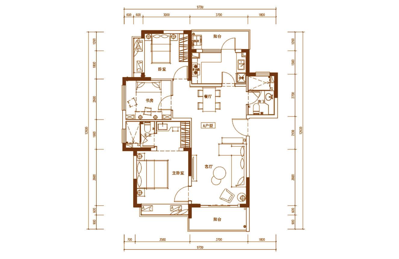 白鹭公元 A户型 3房2厅2卫 建筑面积约109㎡