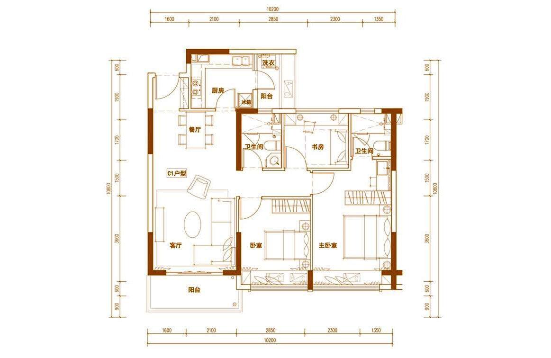 白鹭公元 C户型 3房2厅2卫 建筑面积约100㎡