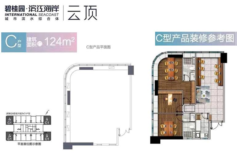 碧桂园滨江海岸 C户型 建筑面积124㎡产品平面图