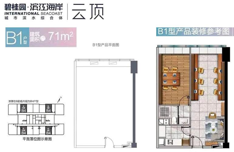 碧桂园滨江海岸 B1户型 建筑面积71㎡产品平面图