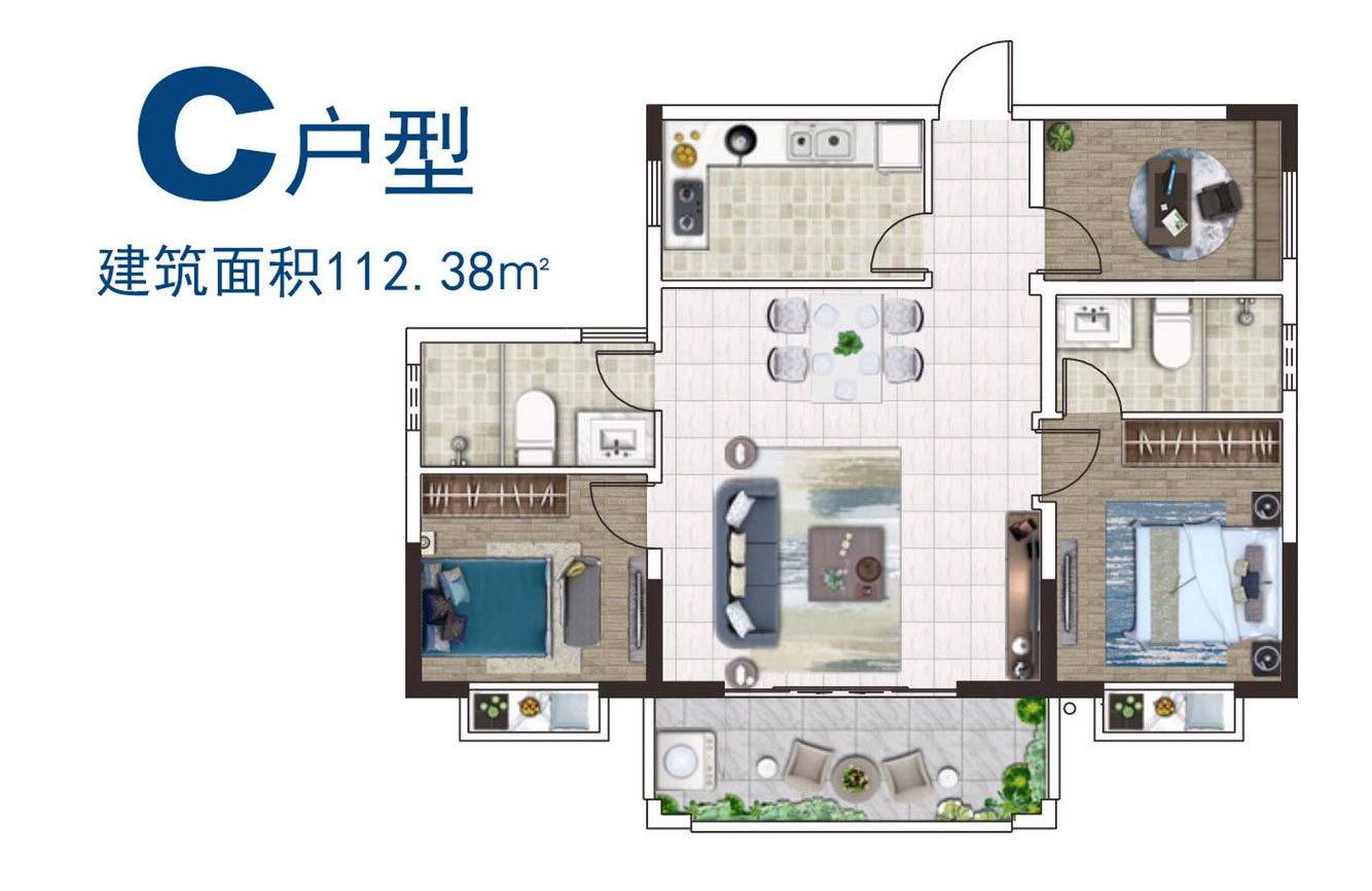 山海湾五期三区 A户型 3室2厅2卫 建筑面积约112㎡