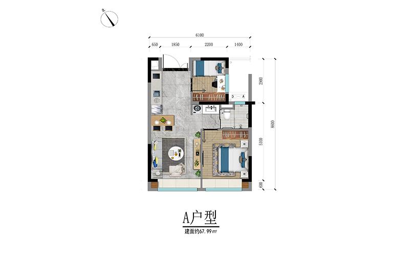 碧桂园高隆湾 A1户型 两房一厅一卫 建筑面积67㎡