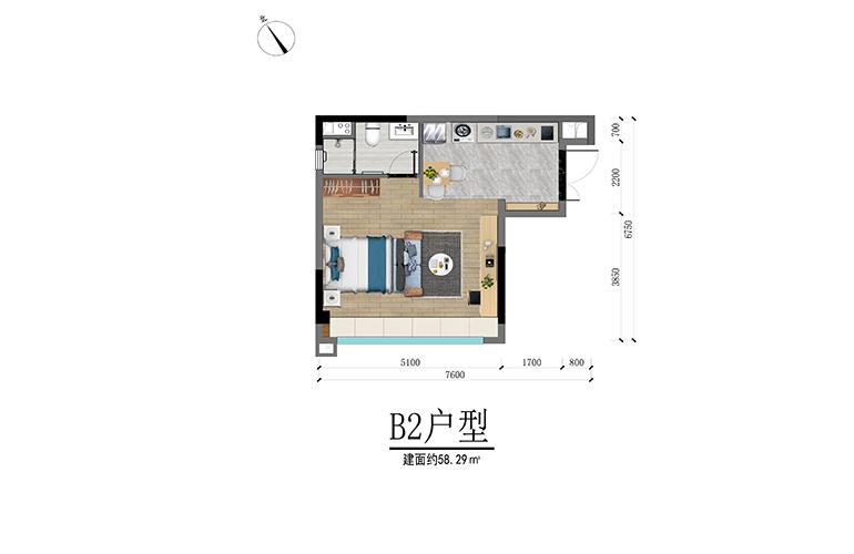 碧桂园高隆湾 B2户型 一房一厅一卫 建筑面积58㎡